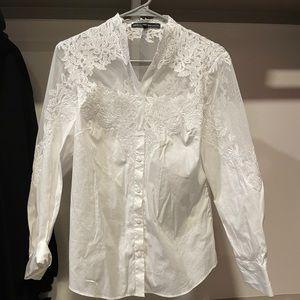 White House black market white lace button up top